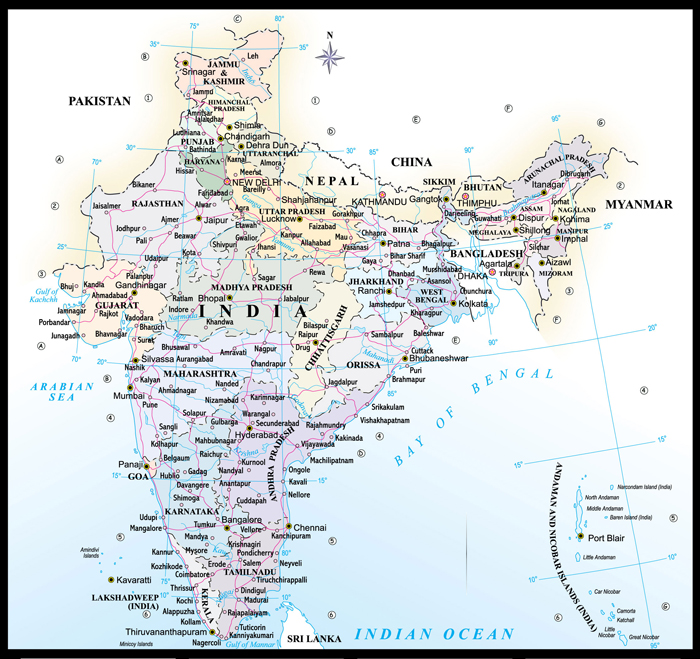 India Travel map, india map with state details
