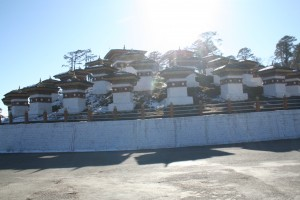 108 chortens in Docula Pass with warm winter sun