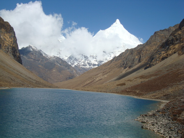 Tranquil Tshophu Lake beholding the sight of Mount Jhomolari and Jichu Drake