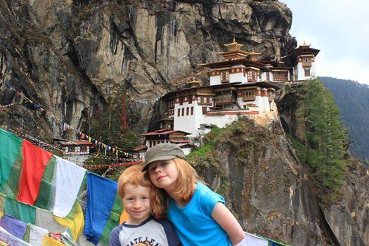 Jones family, Oliver & Ellie at Taktsang Monastery