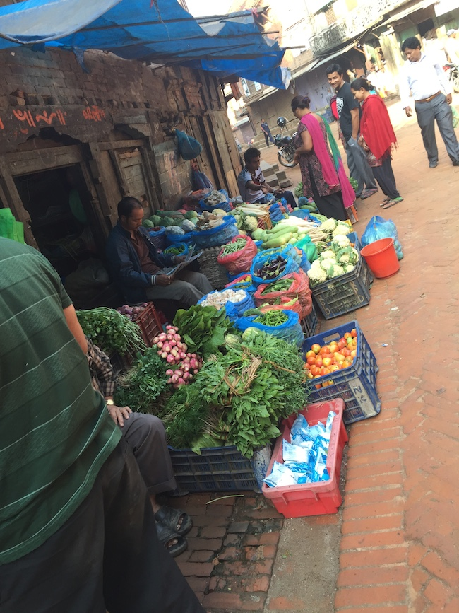 Life goes on... Veg vendor back in business ( Near Patan)