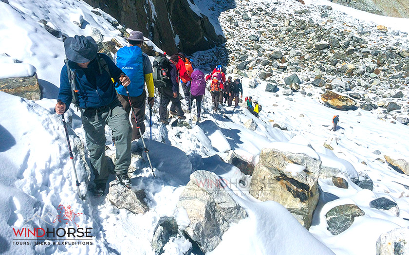 Trekkers walking through the snow trail while crossing the Chola Pass