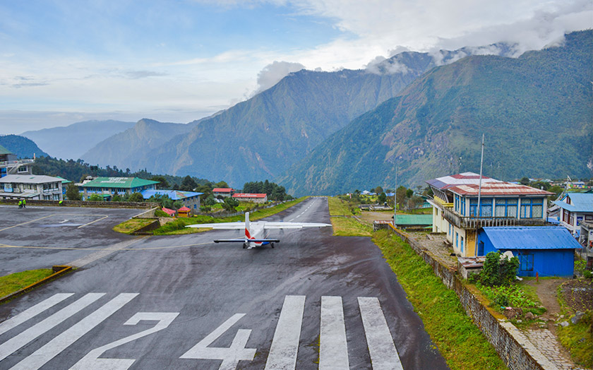 Lukla airport, plain is takking off the air way
