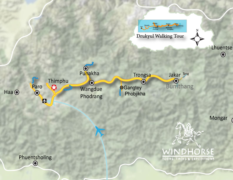 Drukyul Walking Tour – Bhutan Trip Map, Route Map