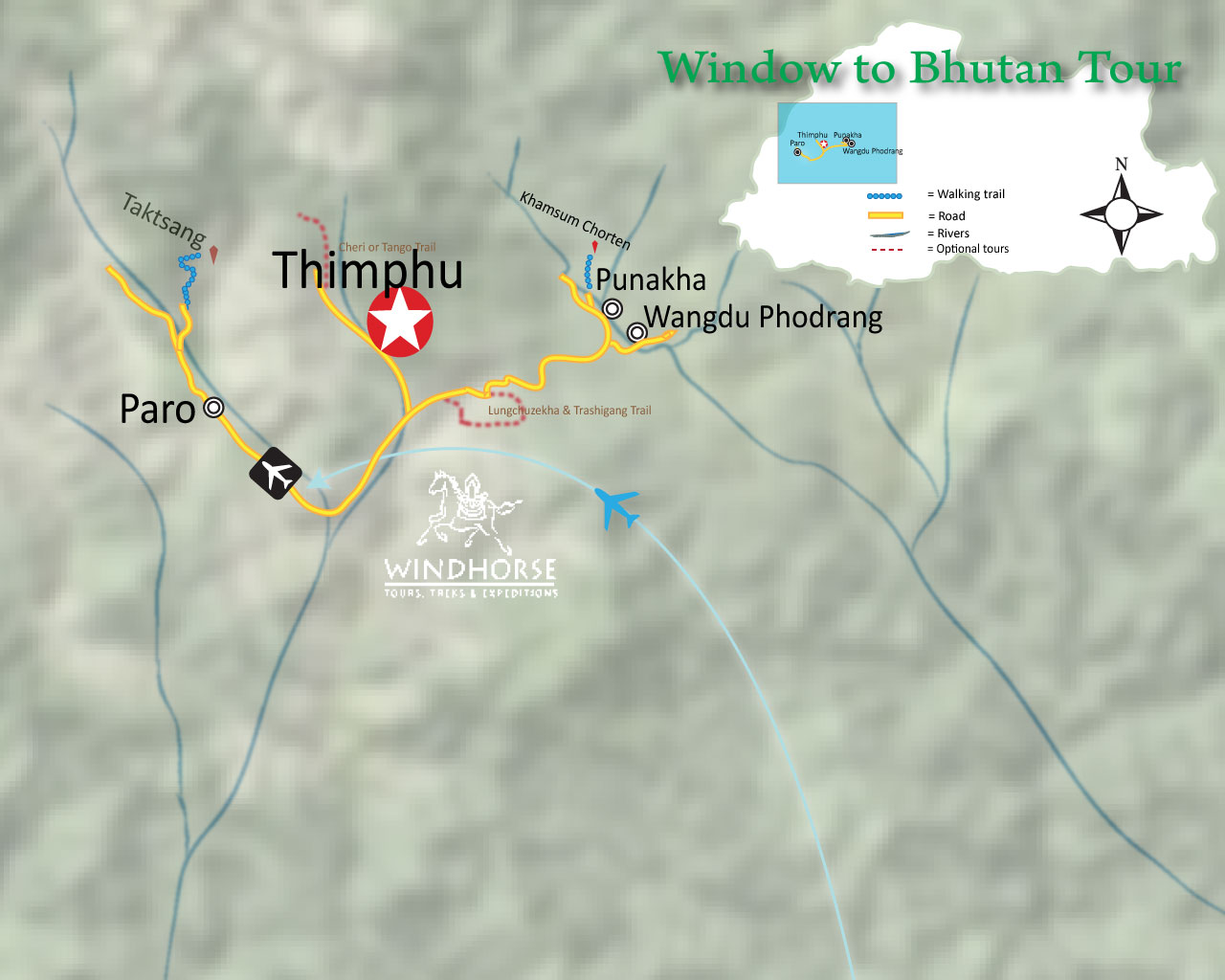 Window to Bhutan Trip Map, Route Map