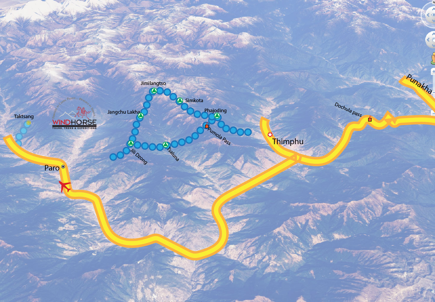 Druk Path Trek Bhutan Trip Map, Route Map