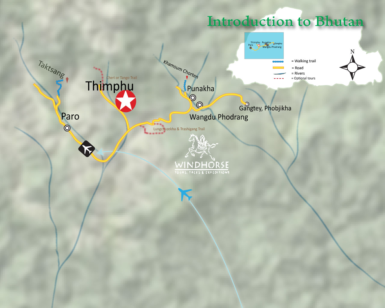 Introduction to Bhutan – 8 days Trip Map, Route Map