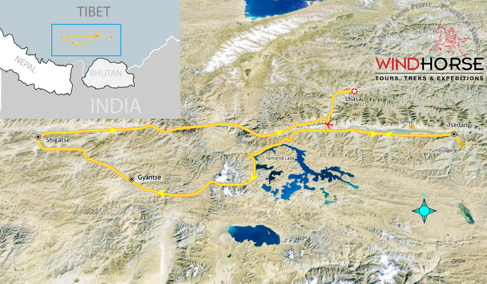 Cultural Heart of Tibet Tour Trip Map, Route Map