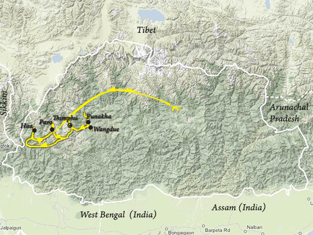 Village Tour of Western Bhutan Trip Map, Route Map