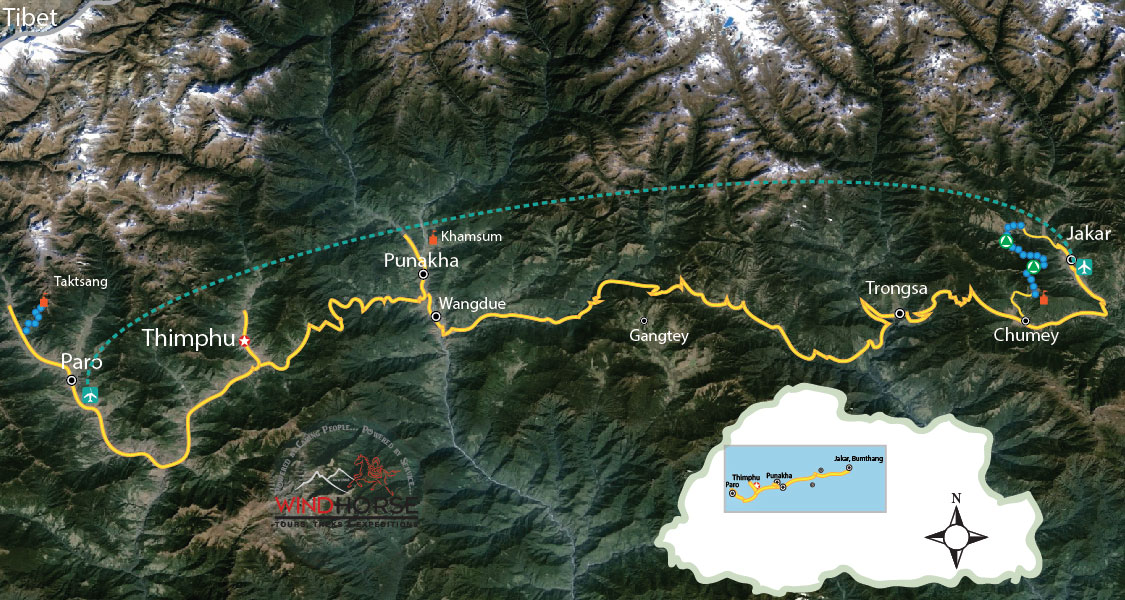 Bumthang Owl Trek Trip Map, Route Map
