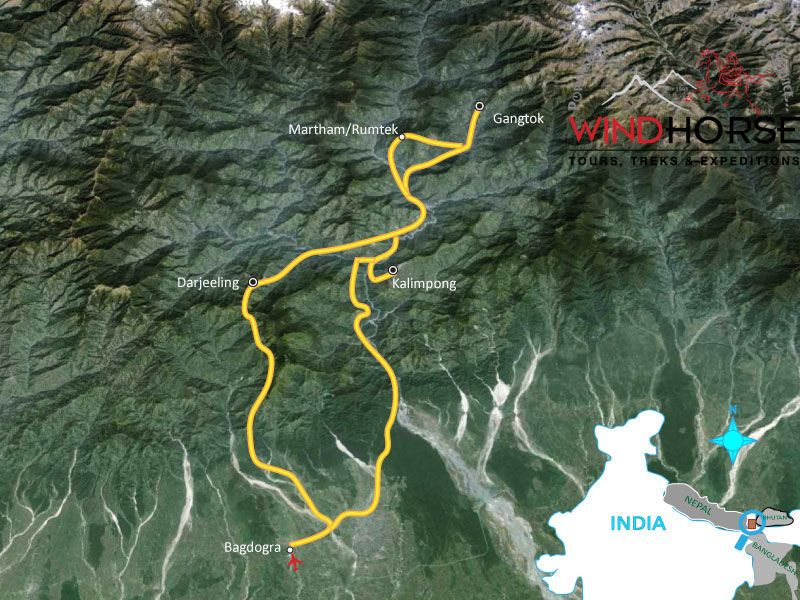 Himalayan Week Trip Map, Route Map