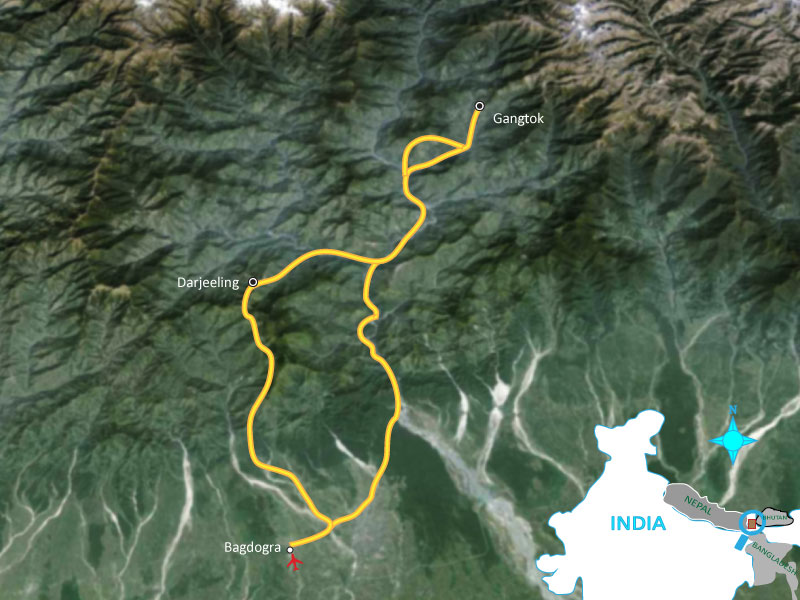 Gangtok – Darjeeling Stopover – 4 days Trip Map, Route Map