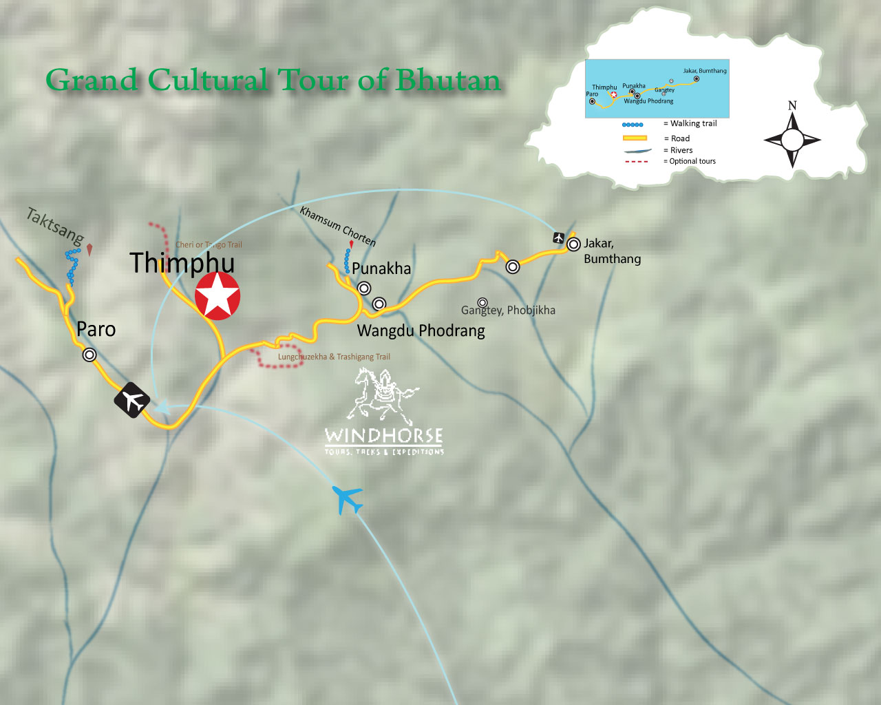Grand Cultural Tour of Bhutan Trip Map, Route Map