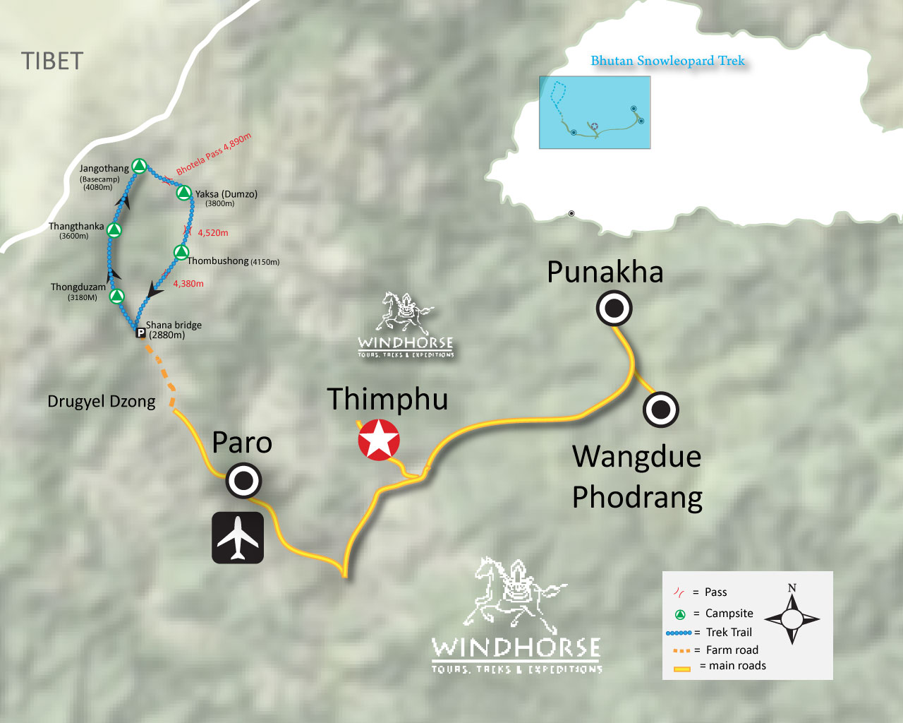 Snow Leopard Jhomolhari Trek Trip Map, Route Map