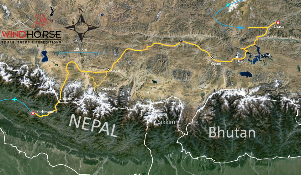 Tibet to Kathmandu via Everest Base Camp Trip Map, Route Map