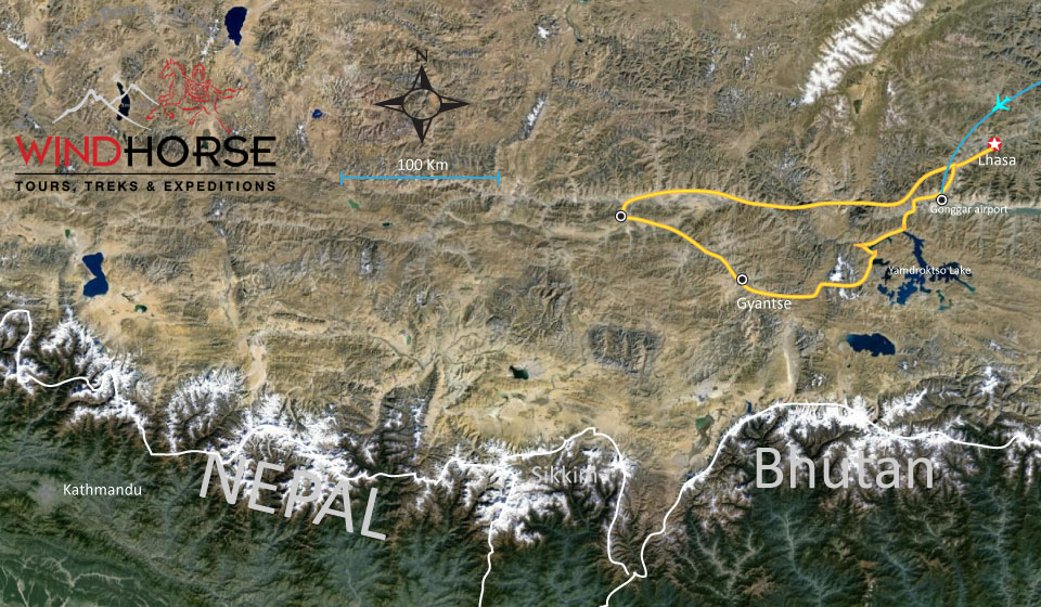 Essential Tibet Tour Trip Map, Route Map