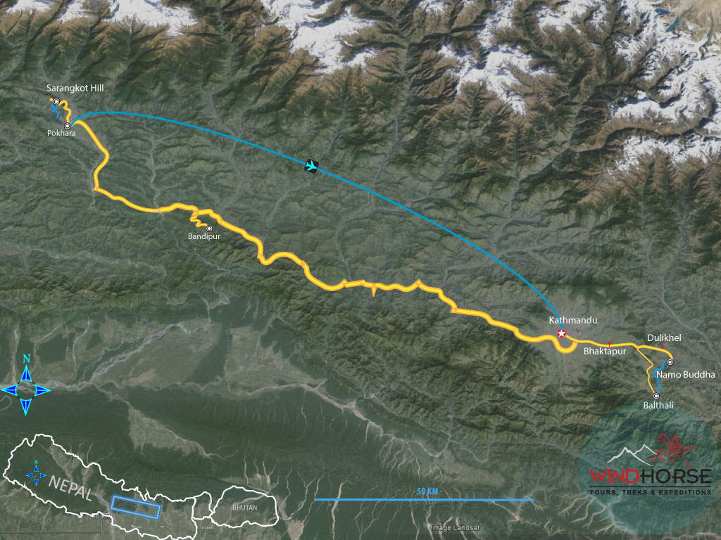 Hilltops & Village Tour of Nepal Trip Map, Route Map