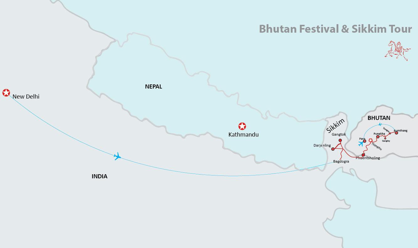 Bhutan Festival & Sikkim Tour Trip Map, Route Map