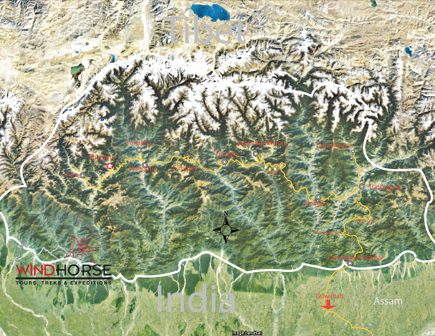 Bhutan Traverse from West to East – Tour Trip Map, Route Map