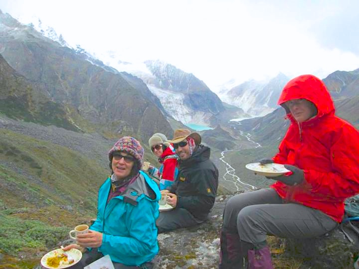 Lunch well earned after hard day crossing Gangla Karchung Pass. ( Snowman Trek) Oct 2014 Courtesy Kirill and olga