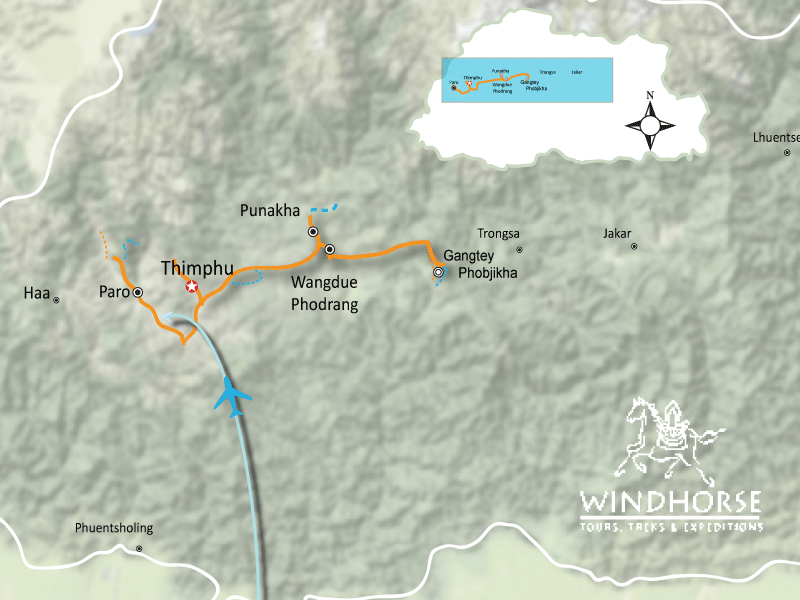 Bhutan Festival Tour Trip Map, Route Map