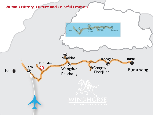 Bhutan History, Culture & Colorful Festival Tour Trip Map, Route Map