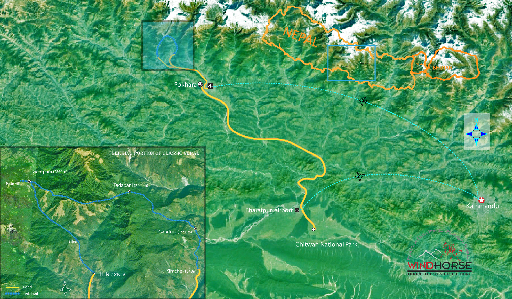 Classic Nepal Tour Trip Map, Route Map