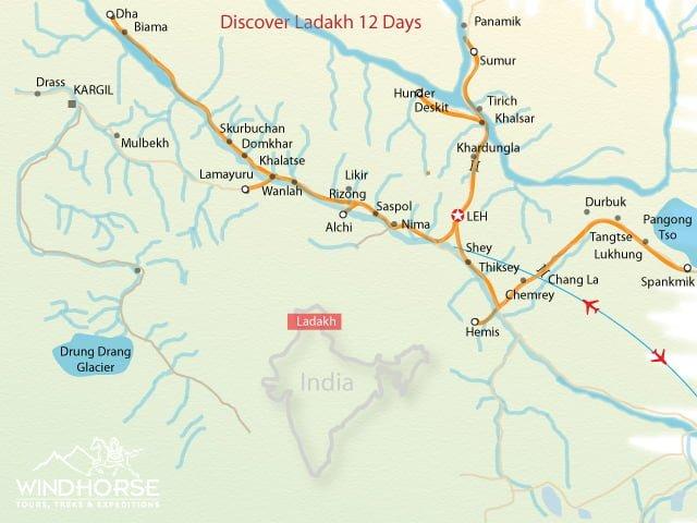 Discover Ladakh Festival Tour Trip Map, Route Map