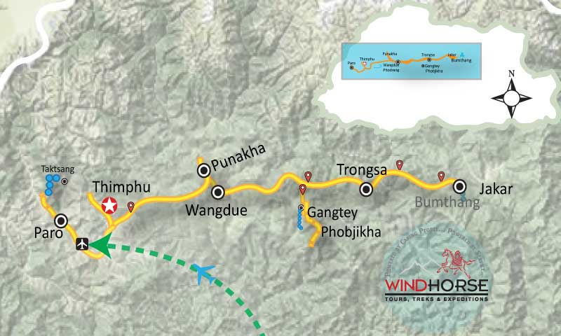 Bhutan Dragon Festival Tour Trip Map, Route Map