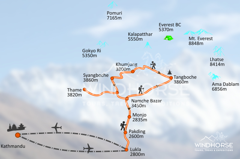 Everest Sherpa Cultural Trek Trip Map, Route Map