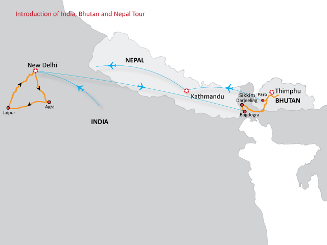 Introduction of India, Bhutan & Nepal Trip Map, Route Map
