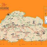 Bhutan map - road and trekking trail