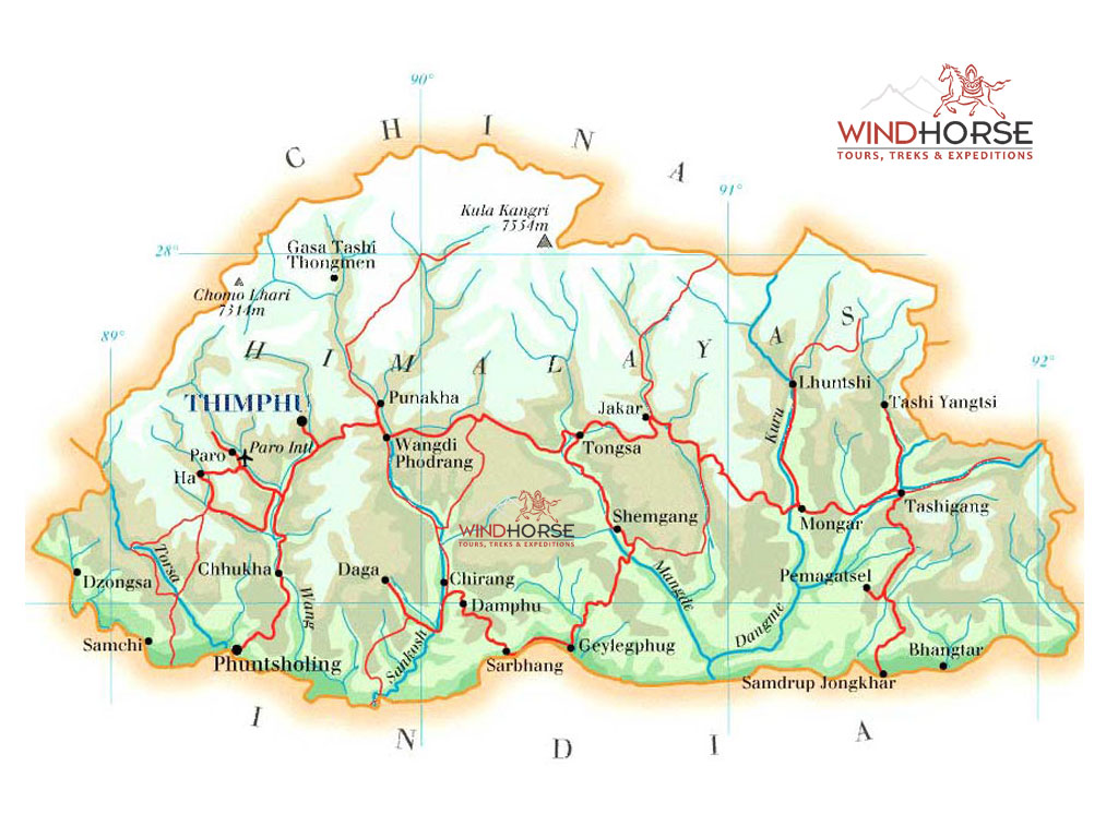 Bhutan Map - Map of bhutan with districts