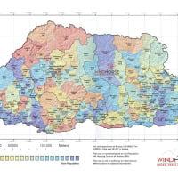 Population map of Bhutan
