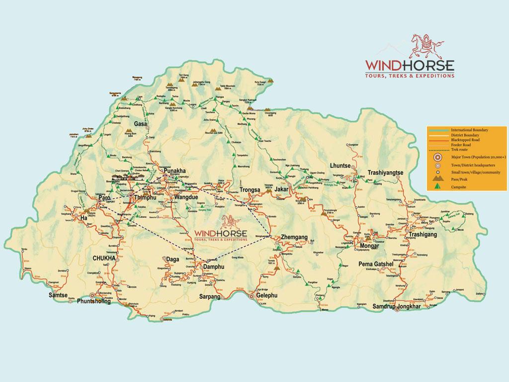 Bhutan Map - Bhutan map