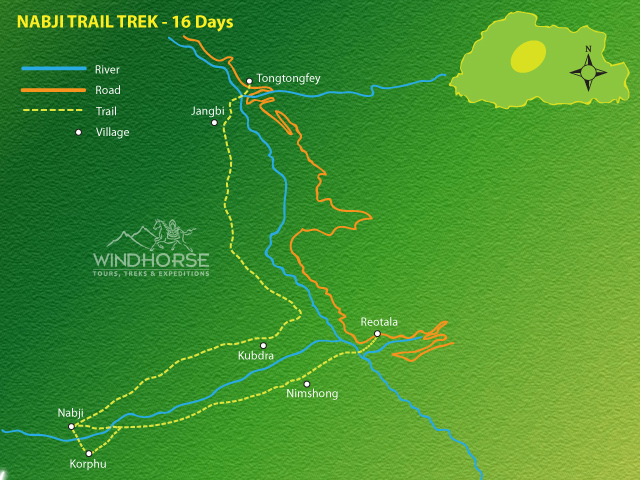 Nabji Korphu Trek Bhutan Trip Map, Route Map