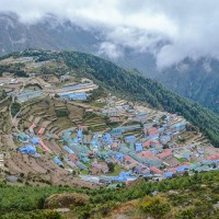 Nanche Bazar, a well known tredding point on Khumbu region