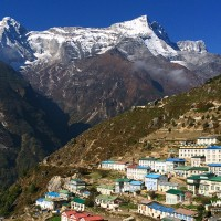 Namche Bazar, background is the Mt. Kongde Ri (6186m)