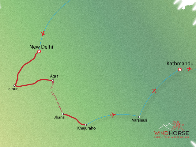 North India and Nepal Tour Trip Map, Route Map