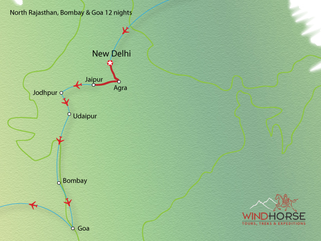 North Rajasthan, Mumbai & Goa Tour Trip Map, Route Map
