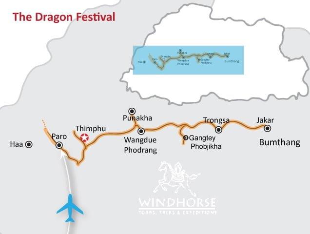 Bhutan Dragon Festival Tour Trip Map, Route Map