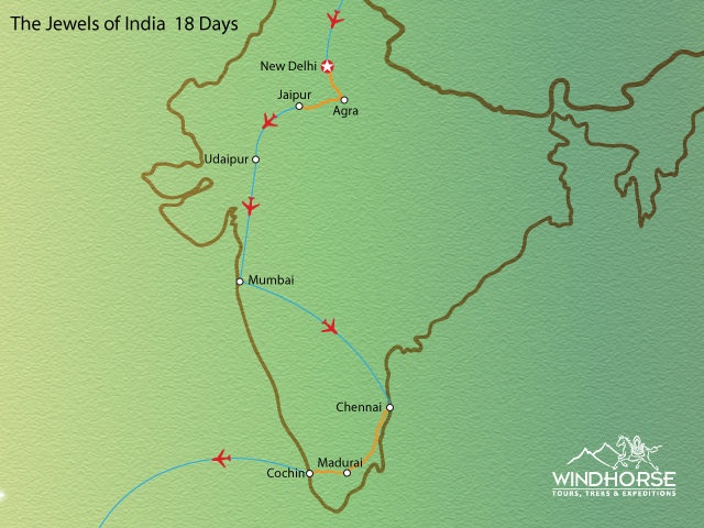 The Jewels of India Tour Trip Map, Route Map