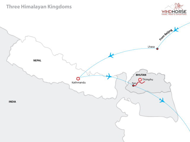 Three Himalayan Kingdoms Trip Map, Route Map