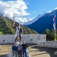 In the musium compound visitor taking photos with the First Mt Everest successful climber Tenzing Norgey Sherpa Memorial stupa