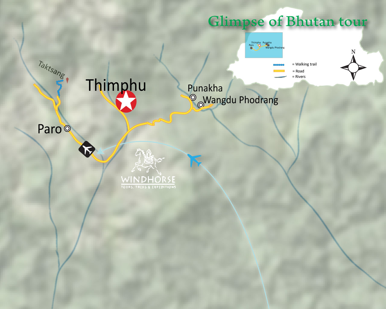 Glimpses of Bhutan Trip Map, Route Map