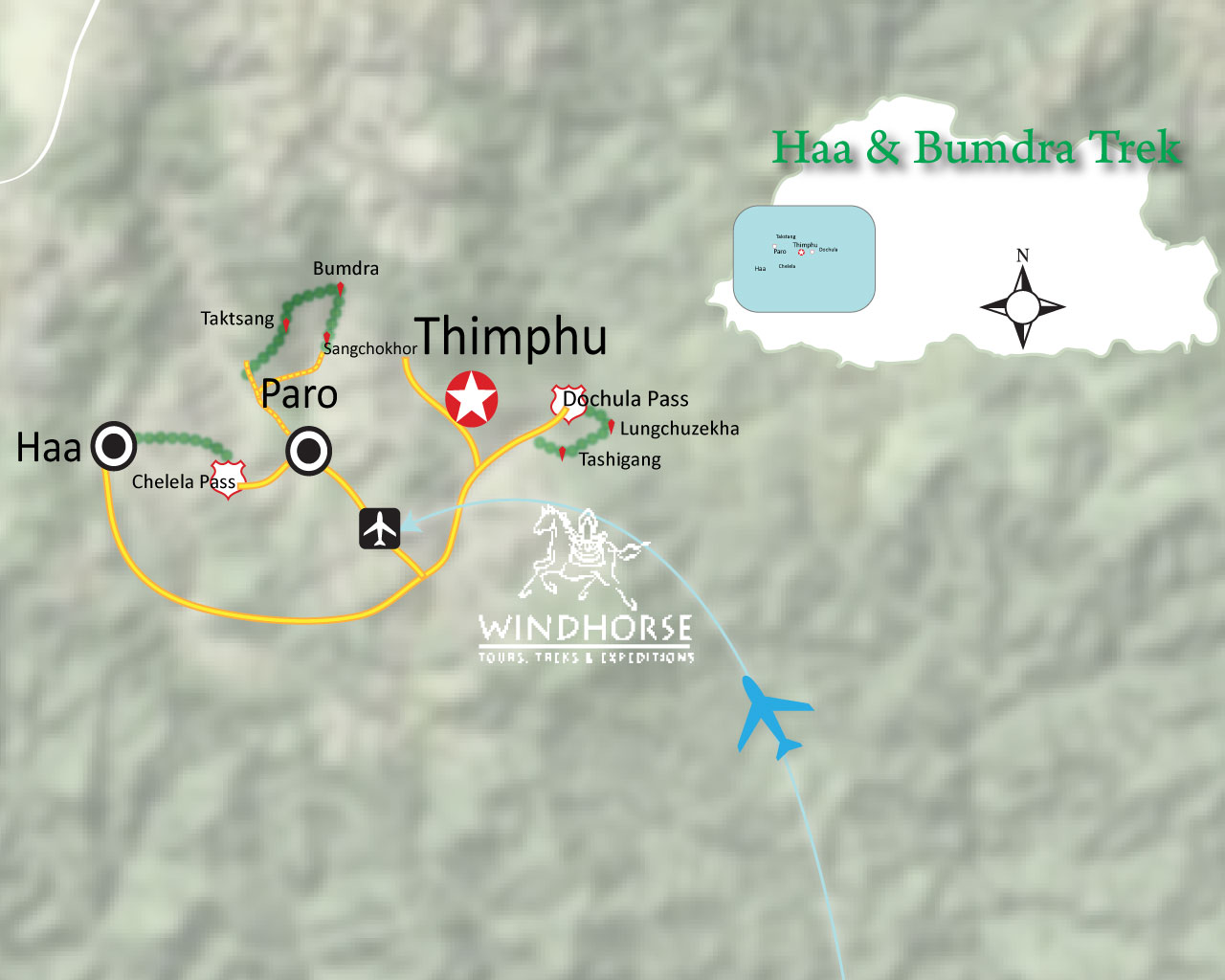 Haa & Bumdra Trek Trip Map, Route Map