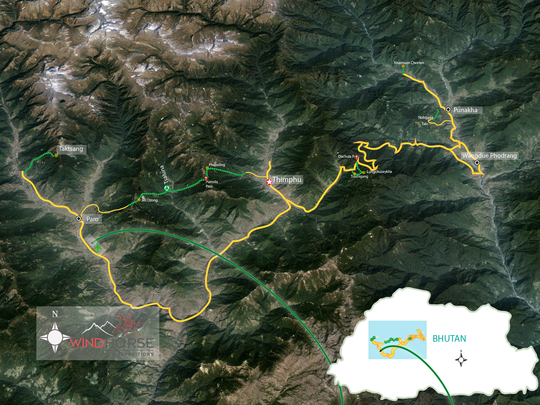 Bhutan Tour & Short trek Trip Map, Route Map