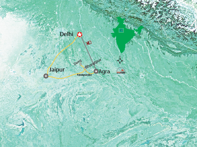 Golden Triangle Tour of India Trip Map, Route Map