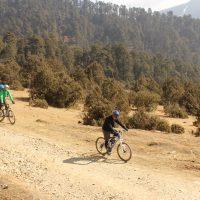 Biking on farm road in Phobjika