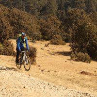 Biking in farm road in Phobjika